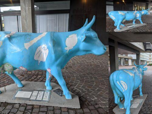 This is the blue cow, a popular meeting point at the Irchel campus.